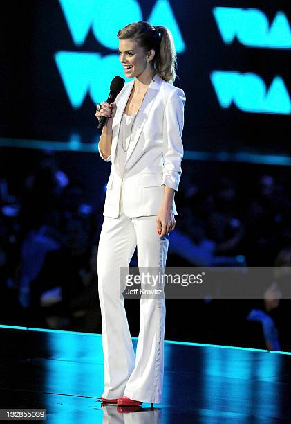 """Actress AnnaLynne McCord speaks onstage during Spike TV's """"2010 Video Game Awards"""" held at the LA Convention Center on December 11, 2010 in Los..."""