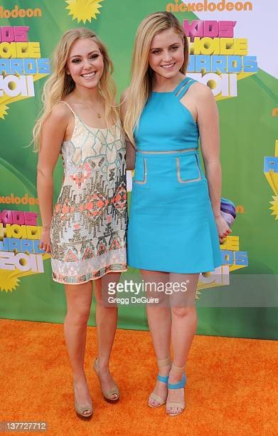 Actress AnnaSophia Robb and actress Lorraine Nicholson arrive on the orange carpet at the Nickelodeon Kids' Choice Awards 2011 at USC's Galen Center...
