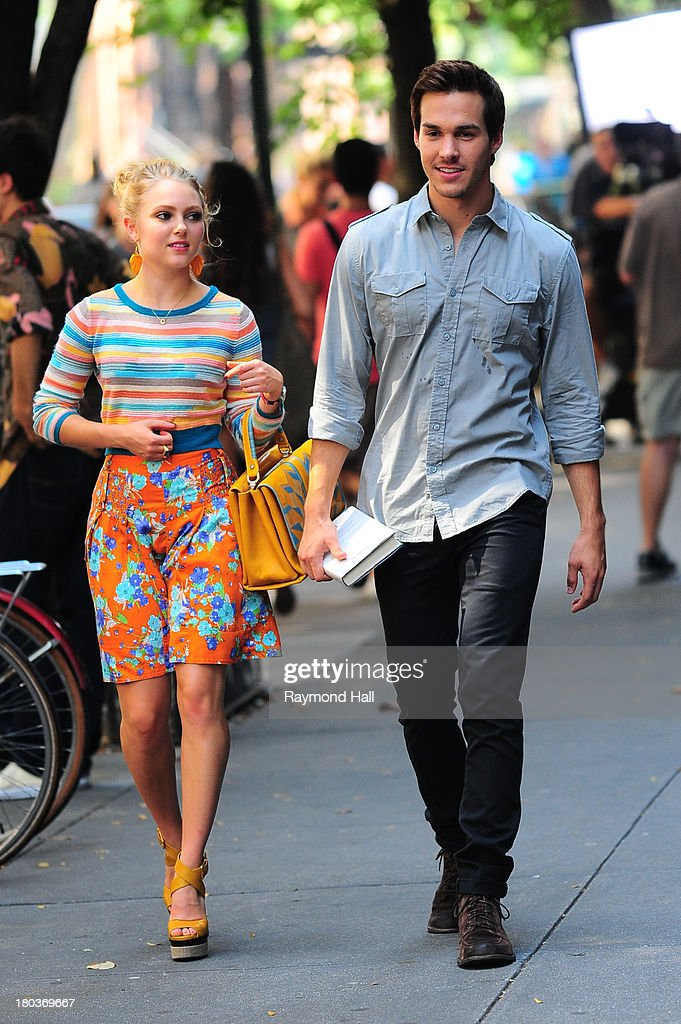 Actress AnnaSophia Robb and Chris Wood is seen on the set of 'The Carrie Diaries'on September 11, 2013 in New York City.