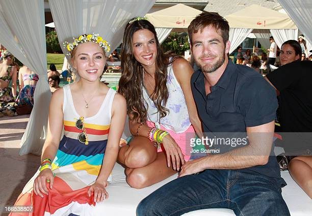 Actress Annasophia Robb model Alessandra Ambrosio and actor Chris Pine attend LACOSTE LVE 4th Annual Desert Pool Party on April 13 2013 in Thermal...