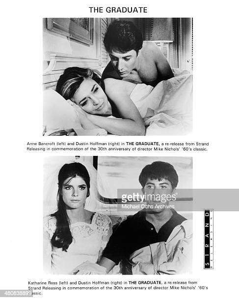 Actress Anne Bancroft and actor Dustin Hoffman on set actress Katharine Ross and actor Dustin Hoffman in a scene from the movie 'The Graduate' circa...