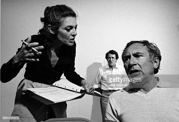 Actress Anne Bancroft rehearses 'Golda' in 1977 for which she was nominated for a Tony Award