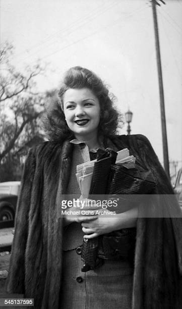 Actress Anne Baxter arrives to the back lot in Los Angeles California