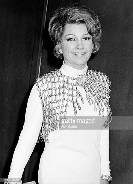 Actress Anne Baxter attending 'Humanitarian Awards' on April 19 1969 at the Beverly Hilton Hotel in Beverly Hills California