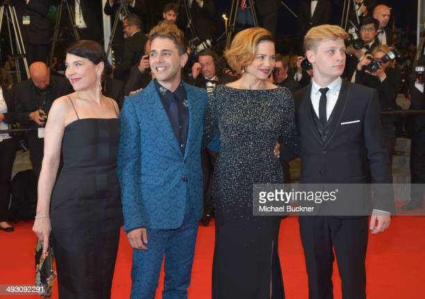 Actress Anne Dorval director Xavier Dolan and actors Suzanne Clement and Olivier Pilon attend the 'Mommy' premiere during the 67th Annual Cannes Film...