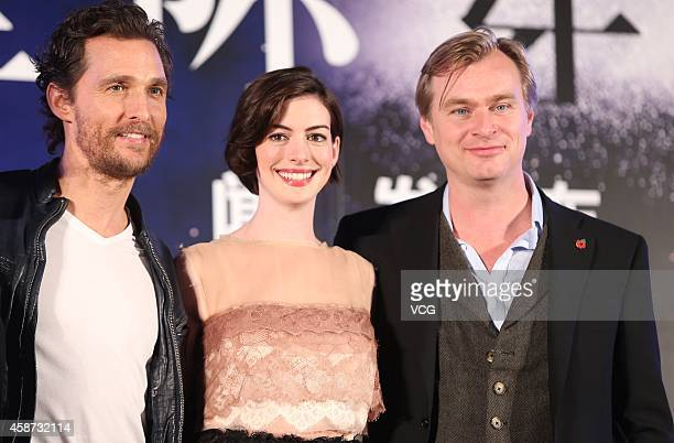 Actress Anne Hathaway actor Matthew McConaughey and director Christopher Nolan attend Asian premiere of new movie Interstellar directed by...