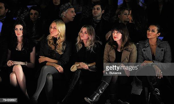 Actress Anne Hathaway actress Chloe Sevigny actress Ashley Olsen actress/designer Milla Jovovich and actress Paula Patton attend Miss Sixty Fall 2008...