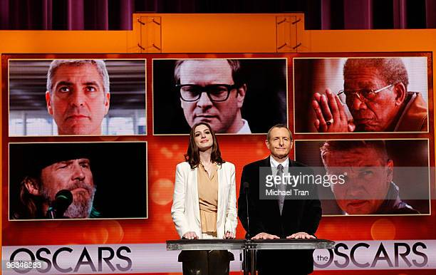 Actress Anne Hathaway and Academy of Motion Picture Arts and Sciences President Tom Sherak speak at the 82nd Academy Awards nominations announcement...