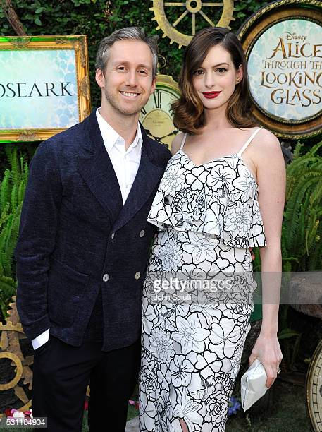 Actress Anne Hathaway and actor Adam Shulman attend Disney's Alice Through the Looking Glass event on May 12 2016 at Roseark in Los Angeles...