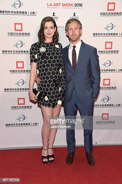 Actress Anne Hathaway and actor Adam Shulman attend the LA Art Show and Los Angeles Fine Art Show's 2016 opening night premiere party benefiting St...