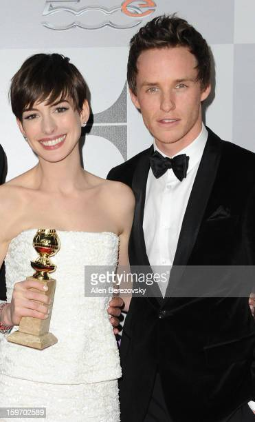 Actress Anne Hathaway and actor Eddie Redmayne of 'Les Miserables' arrive at the NBC Universal's 70th annual Golden Globe Awards after party on...