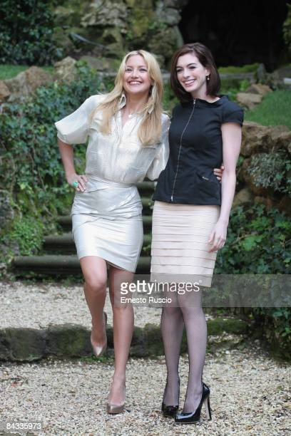 Actress Anne Hathaway and actress Kate Hudson attend 'Bride Wars' photocall on January 17 in Rome Italy