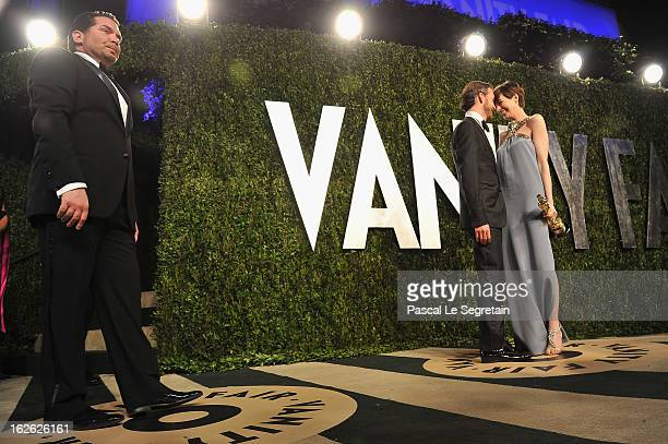Actress Anne Hathaway and Adam Shulman arrive at the 2013 Vanity Fair Oscar Party hosted by Graydon Carter at Sunset Tower on February 24 2013 in...