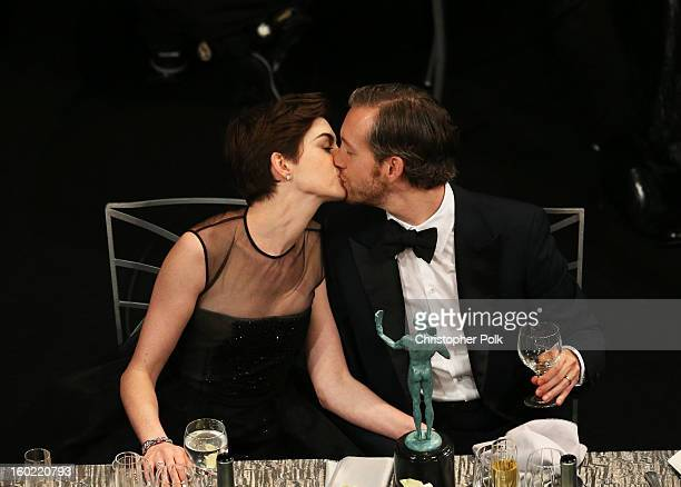Actress Anne Hathaway and Adam Shulman attend the 19th Annual Screen Actors Guild Awards at The Shrine Auditorium on January 27 2013 in Los Angeles...