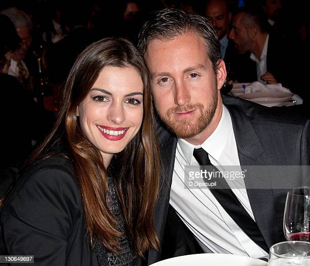 Actress Anne Hathaway and Adam Shulman attend the Empire State Pride Agenda's 20th Anniversary fall dinner at the Sheraton New York Hotel Towers on...