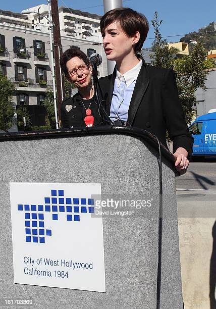 Actress Anne Hathaway and City of West Hollywood Mayor Pro Tempore Abbe Land attend the kickoff for One Billion Rising in West Hollywood on February...
