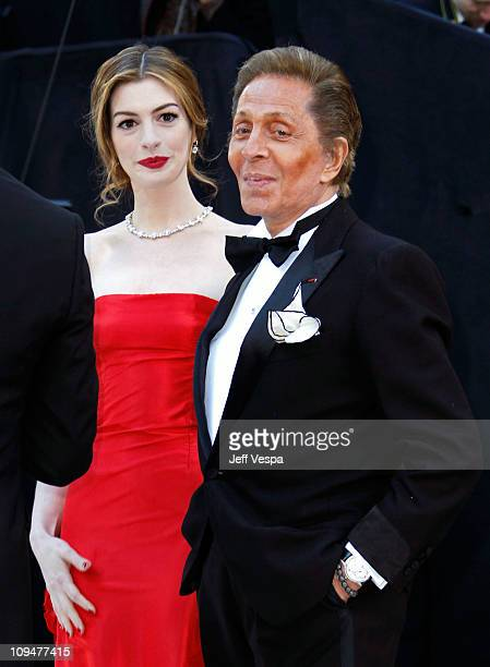 Actress Anne Hathaway and designer Valentino arrive at the 83rd Annual Academy Awards held at the Kodak Theatre on February 27 2011 in Hollywood...