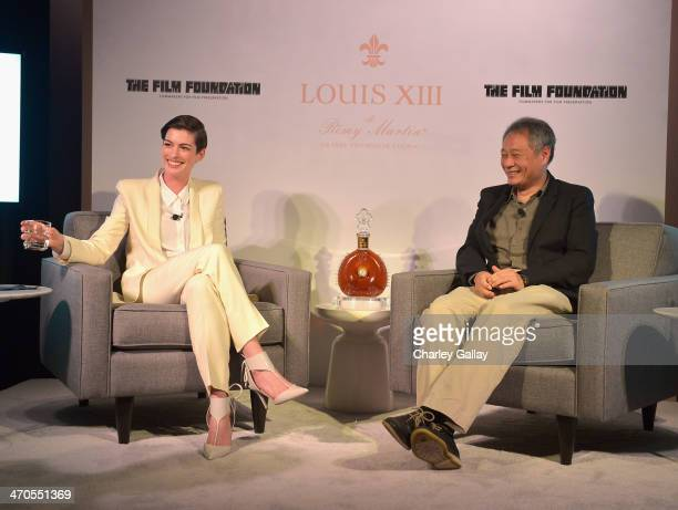 Actress Anne Hathaway and director Ang Lee speak at LOUIS XIII and The Film Foundation Creative Encounter at Charles Aidikoff Screening Room on...