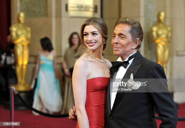 Actress Anne Hathaway and fashion designer Valentino arrive at the 83rd Annual Academy Awards held at the Kodak Theatre on February 27 2011 in...
