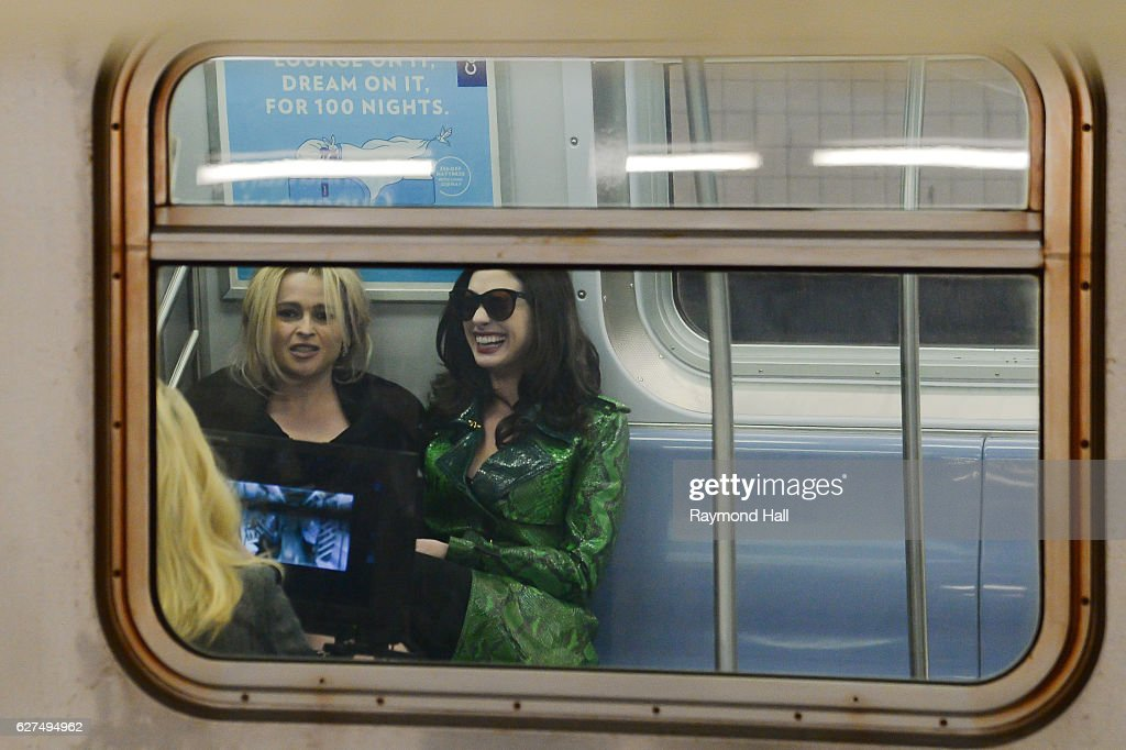 Actress Anne Hathaway and Helena Bonham Carter are seen set of Ocean's Eight in Brooklyn on December 3, 2016 in New York City.