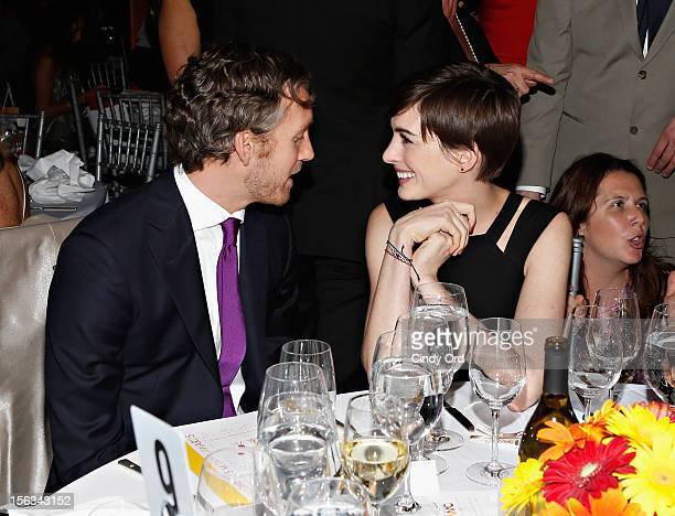 Actress Anne Hathaway and her husband Adam Shulman attend the 2012 Women's Media Awards at Guastavino's on November 13 2012 in New York City