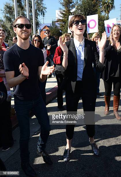 Actress Anne Hathaway and her husband Adam Shulman help kickoff One Billion Rising on February 14 2013 in West Hollywood California
