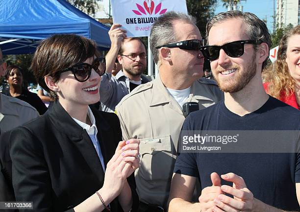 Actress Anne Hathaway and husband actor Adam Shulman attend the kickoff for One Billion Rising in West Hollywood on February 14 2013 in West...