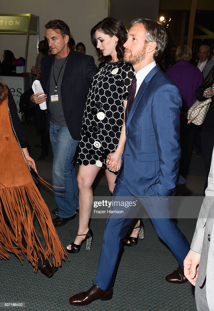 Actress Anne Hathaway and husband Adam Shulman arrive at LA Art Show And Los Angeles Fine Art Show's 2016 Opening Night Premiere Party Benefiting St. Jude Children's Research Hospital at Los Angeles Convention Center on January 27, 2016 in Los Angeles, California.