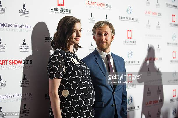 Actress Anne Hathaway and husband Adam Shulman arrive at LA Art Show and Los Angeles Fine Art Show's 2016 Opening Night Premiere Party Benefiting St...