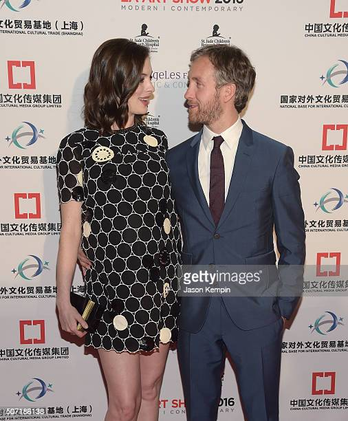 Actress Anne Hathaway and husband Adam Shulman attend the LA Art Show And Los Angeles Fine Art Show's 2016 Opening Night Premiere Party Benefiting St...