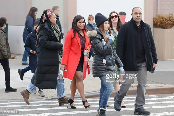 Actress Anne Hathaway and Mindy Kaling and Rihanna are seen set of Ocean's Eight in Brooklyn on December 3 2016 in New York City