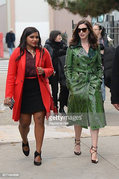 Actress Anne Hathaway and Mindy Kaling are seen set of Ocean's Eight in Brooklyn on December 3 2016 in New York City