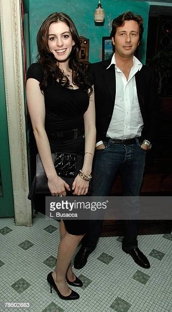 Actress Anne Hathaway and Raffaello Follieri attend the Miss Sixty Fall 2008 Dinner Party during MercedesBenz Fashion Week at Socialista on February...