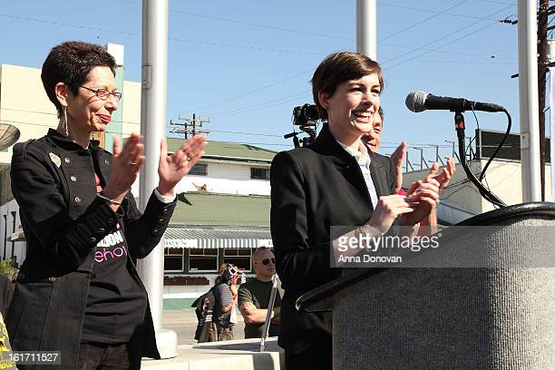 Actress Anne Hathaway and West Hollywood Mayor Pro Tempore Abbe Land attends the kick-off for One Billion Rising in West Hollywood on February 14,...