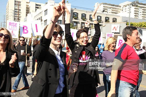 Actress Anne Hathaway and West Hollywood Mayor Pro Tempore Abbe Land attend the kick-off for One Billion Rising in West Hollywood on February 14,...