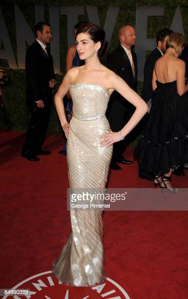 Actress Anne Hathaway arrive at the 2009 Vanity Fair Oscar Party Hosted By Graydon Carter at the Sunset Tower on February 22 2009 in West Hollywood...