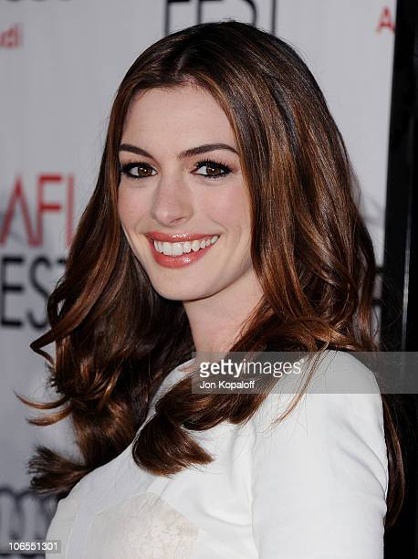 Actress Anne Hathaway arrives at AFI FEST 2010 'Love Other Drugs' Opening Night Gala at Grauman's Chinese Theatre on November 4 2010 in Hollywood...