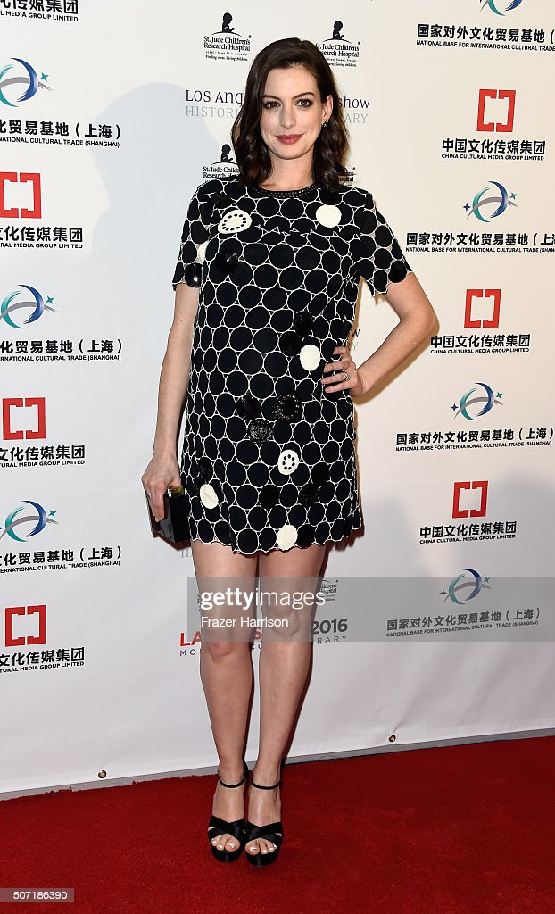 Actress Anne Hathaway arrives at LA Art Show And Los Angeles Fine Art Show's 2016 Opening Night Premiere Party Benefiting St. Jude Children's Research Hospital at Los Angeles Convention Center on January 27, 2016 in Los Angeles, California.