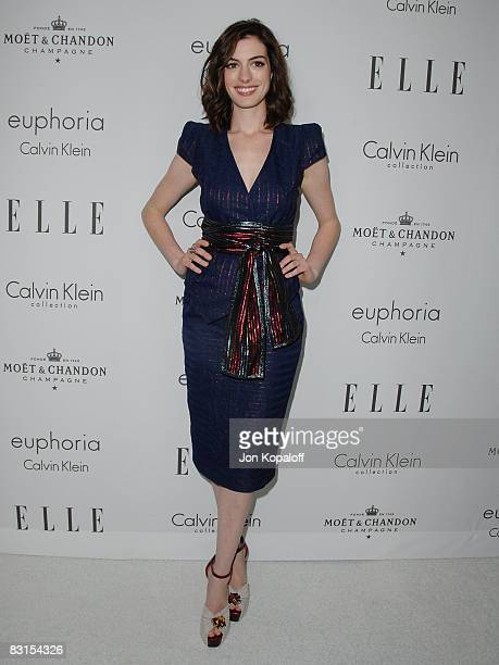 """Actress Anne Hathaway arrives at """"Elle Magazine's 15th Annual Women in Hollywood Tribute"""" at the Four Seasons Hotel on October 6, 2008 in Beverly..."""