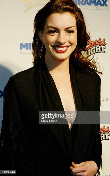 Actress Anne Hathaway arrives at Miramax's Annual Max Awards held at the Regis Hotel on February 28 2004 in Beverly Hills California