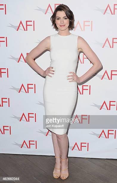 Actress Anne Hathaway arrives at the 15th Annual AFI Awards at Four Seasons Hotel Los Angeles at Beverly Hills on January 9 2015 in Beverly Hills...