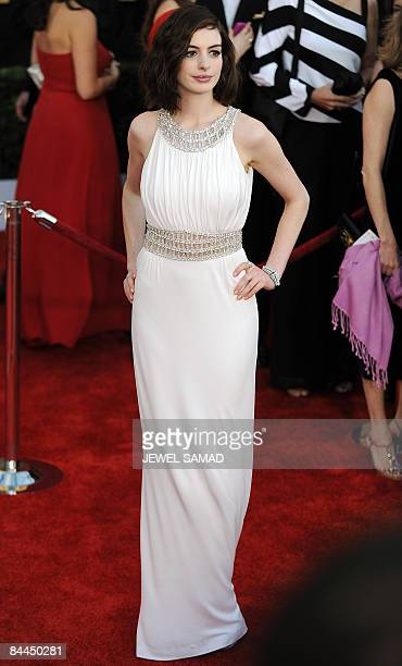 Actress Anne Hathaway arrives at the 15th Annual Screen Actors Guild Awards at the Shrine Auditorium in Los Angeles California on January 25 2009 AFP...