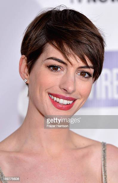 Actress Anne Hathaway arrives at the 18th Annual Critics' Choice Movie Awards at Barker Hangar on January 10 2013 in Santa Monica California