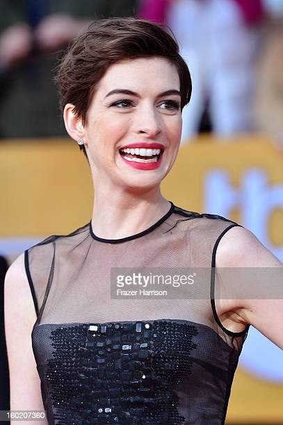 Actress Anne Hathaway arrives at the 19th Annual Screen Actors Guild Awards held at The Shrine Auditorium on January 27 2013 in Los Angeles California