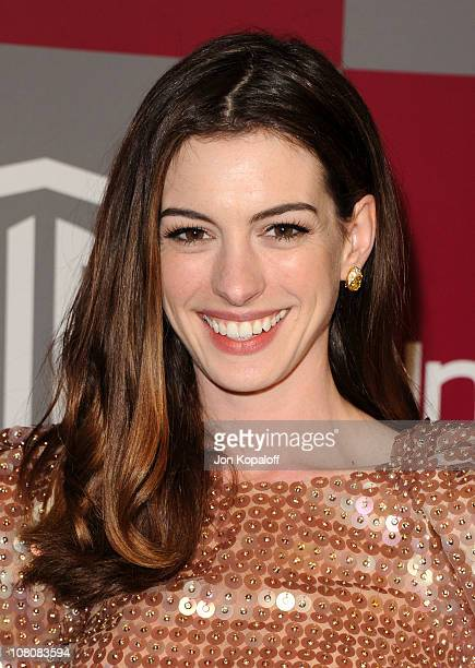 Actress Anne Hathaway arrives at the 2011 InStyle/Warner Brothers Golden Globes Party at The Beverly Hilton hotel on January 16 2011 in Beverly Hills...