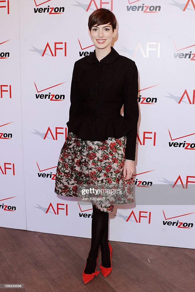 Actress Anne Hathaway arrives at the 2012 AFI Awards Luncheon on January 11, 2013 in Beverly Hills, California.