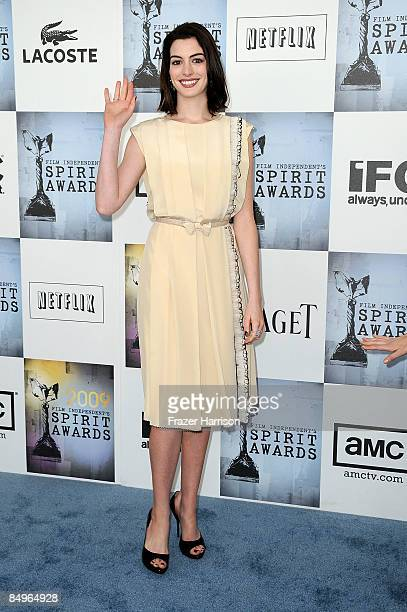 Actress Anne Hathaway arrives at the 24th Annual Film Independent's Spirit Awards held at Santa Monica Beach on February 21 2009 in Santa Monica...