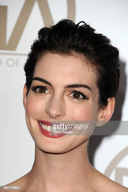 Actress Anne Hathaway arrives at the 24th Annual Producers Guild Awards held at The Beverly Hilton Hotel on January 26, 2013 in Beverly Hills,...