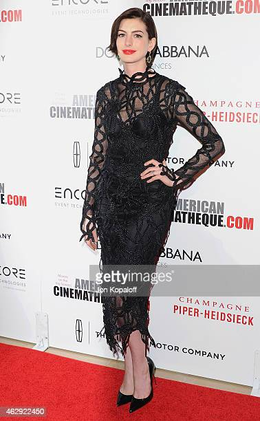 Actress Anne Hathaway arrives at the 28th American Cinematheque Award Honoring Matthew McConaughey at The Beverly Hilton Hotel on October 21 2014 in...