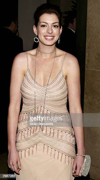 Actress Anne Hathaway arrives at the 54th Annual ACE Eddie Awards at the Beverly Hilton Hotel February 15 2004 in Beverly Hills California